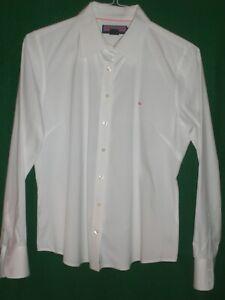 Vineyard-Vines-Womens-Blouse-Shirt-Large-White-Shep-Ian-Pink-Whale