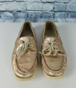 8f0042d9395b Sperry Top Side Metallic Rose Gold Pink Leather Flats Boat Shoes ...