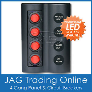 1 x ORIGINAL PANEL RED LED ROCKER SWITCH WATERPROOF Boat//Caravan//RV//4x4//Light