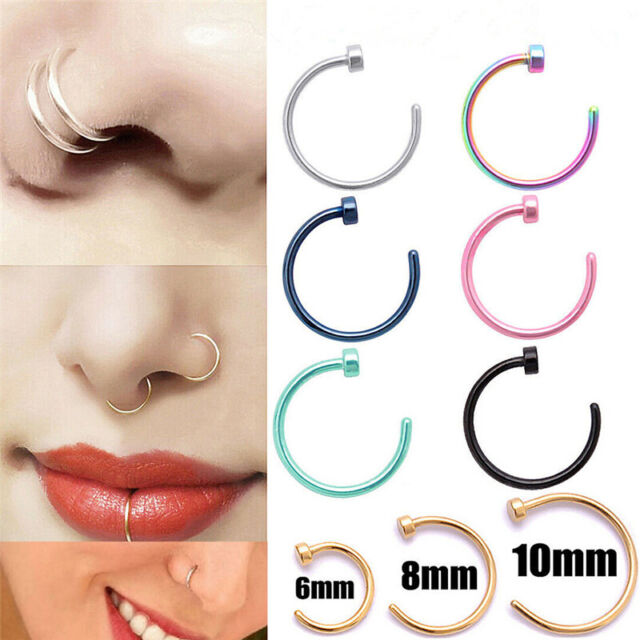 Sterling Silver Thin Nose Rings Nose Fake Piercing Black and Silver Color-20G