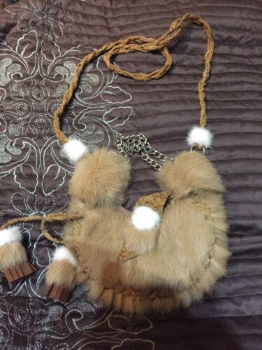 con coniglio borsa frange croce vera Vera di pelliccia pelle Messenger fqBE8