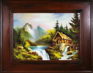 Mountains-Waterfall-Painting-Handmade-Oil-Picture-Frame-G16289
