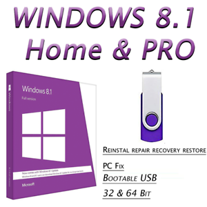 WINDOWS-8-1-HOME-amp-PRO-64GB-USB-32-64bit-Fix-Repair-Install-Recover-PC
