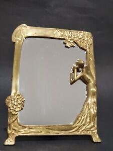 VTG Brass Art Nouveau Style Table Top Vanity Dresser Mirror - Girl Looking
