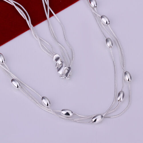 NB214 Wholesale 925 Sterling Silver Lovely trois ligne lisse perle collier 18 In environ 45.72 cm