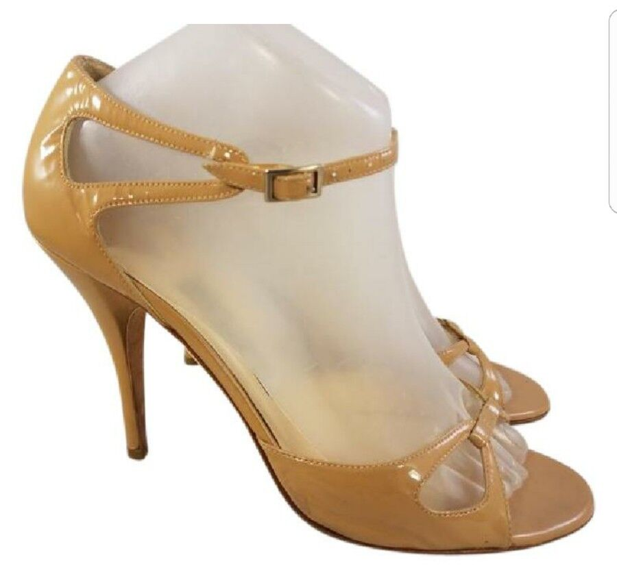 Taille EUR 39.5   US 9 Jimmy Choo Choo Choo patent leather beige opentoe chaussures sandals 16bb32