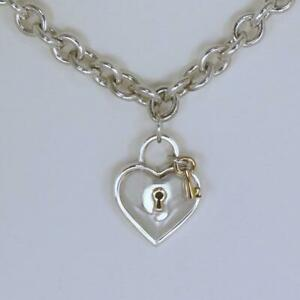 714e1ea73 Tiffany & Co.Silver & 18ct Gold Heart Padlock Key Charm Pendant ...