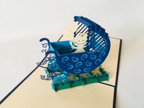 3D-Klappkarte Geburt Kinderwagen blau Pop up Karte Glückwunschkarte