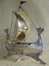 Antique 830S SILVER VIKING SHIP Norwegian Brodrene Lohne of Bergen DRAGESTIL