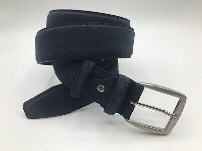 Cintura in Vero Cuoio Italiano Accorciabile Cuciture Decorative Made in Italy 4 cm ca Blu Scuro Prodotto Artigianale ITALOITALY Vera Pelle Unisex