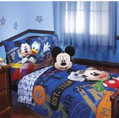low priced 4d4b8 cf0ff NEW DISNEY MICKEY MOUSE CLUBHOUSE 4 PIECE MICKEY FLIGHT ACADEMY TODDLER BED  SET | eBay