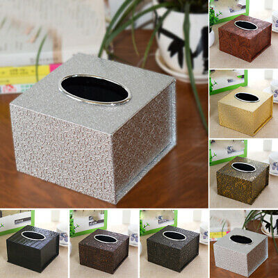 Durable Room Car PU Leather Square Tissue Box Paper Holder Case Cover Napkin !