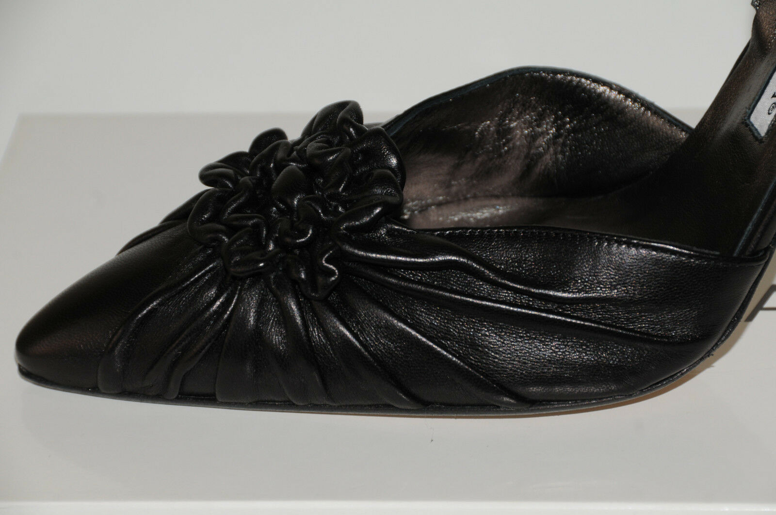 785 New MANOLO BLAHNIK Malattiasl  BLACK Leather Leather Leather Slings CAROLYNE SHOES 36.5 826fe2