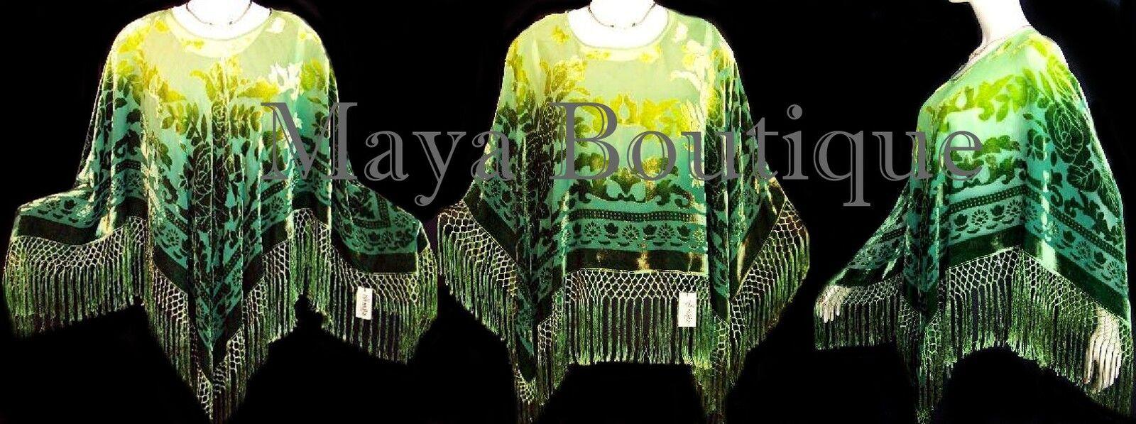 Dyed Silk Poncho Shawl Top Lime & Green Maya Matazaro