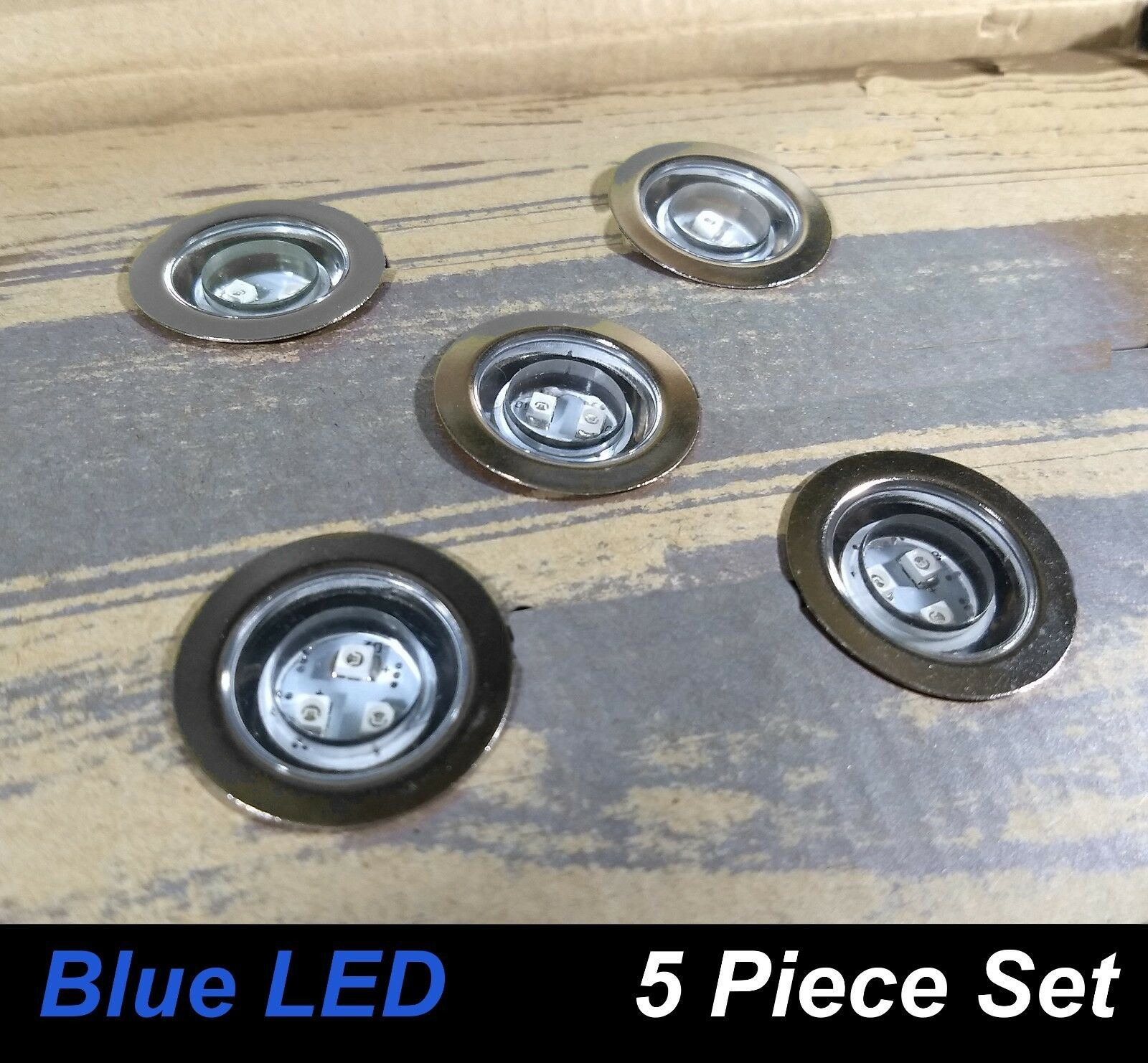 5 pieza rojoonda cubierta & Kit de luz LED Paso Hazlo tú mismo Acero Inoxidable Azul Kit Completo