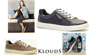 Klouds shoes Orthotic friendly comfort leather zip lace up fashion sneakers Cara