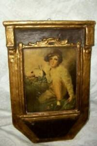 ANTIQUE-GESSO-DURO-PLAQUE-FRAME-BOY-WITH-RABBIT-PRINT-RAEBURN-GILT-REGAL-ART-CO