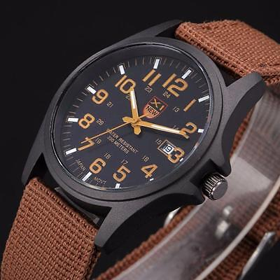 Men's Sport Quartz Watches Analog Stainless Steel Army military Dial WristWatch