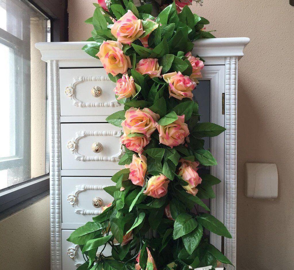 2x 8Ft Artificial Rose Garland Silk Flower Vine Ivy Wedding Party Garden Decor 2
