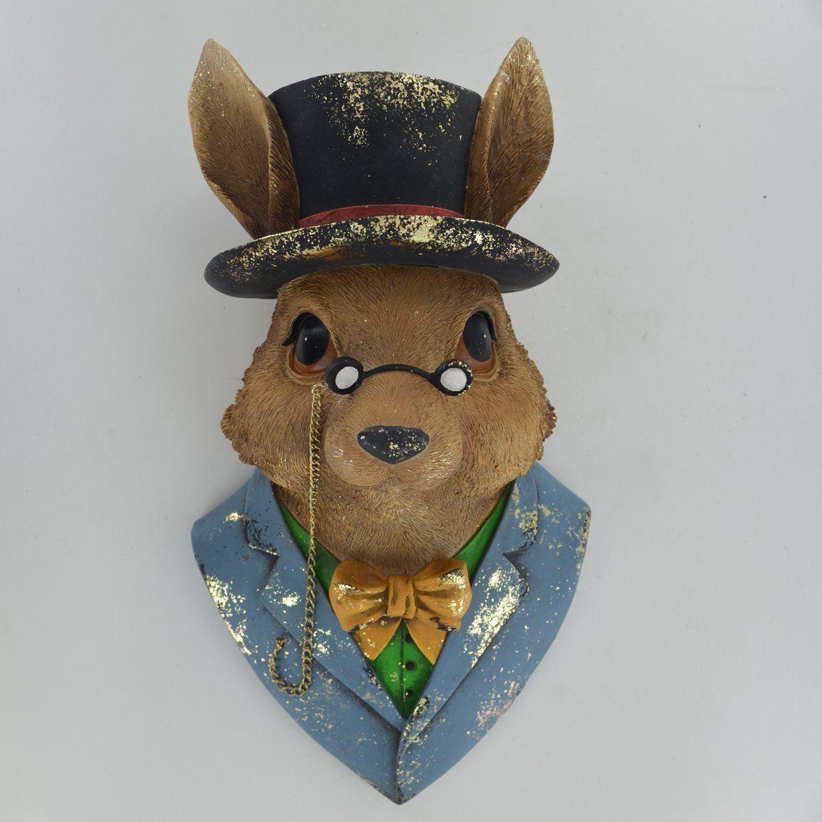 Rabbit Wand Bust Sculpture Style Unique Novelty Decor Fantasy Dapper Animals