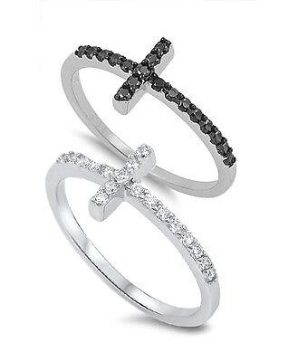 HOT SELLER! SIDEWAYS BLACK/WHITE CZ CROSS .925 Sterling Silver Ring Sizes 4-12