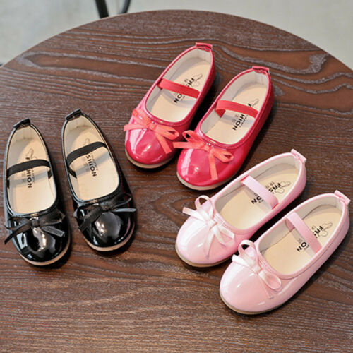 Toddler Baby Sneaker Children Girls Bow Casual Single Leather Pricness Shoes