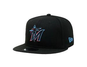 New Era 9Fifty Cap Men MLB Basic Team Miami Marlins Black SnapBack Hat 950