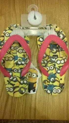 Yellow Pink Minions Girls flip flops beach shoes Size 10 11 euro 27//28  NEW