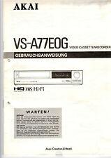 Manuale di Istruzioni Owners Manual AKAI videoregistratore vs-a77eog b255