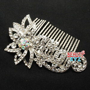 Bridal-flower-Silver-Bling-Clear-Austrian-Crystal-hair-comb-for-wedding-part-NEW