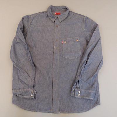 Men's LEVI STRAUSS Vintage Blue Denim Shirt Snap Button Engineered Medium #F805
