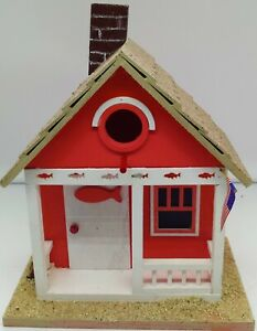 Details About New Tropical Beach Birdhouse W C Pink Fish Accents Yard Decor Garden Accent