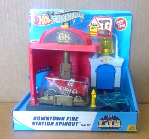 2018 Mattel Hot Wheels City Downtown Fire Station Playset Asst FWN15 FMY96 MISB