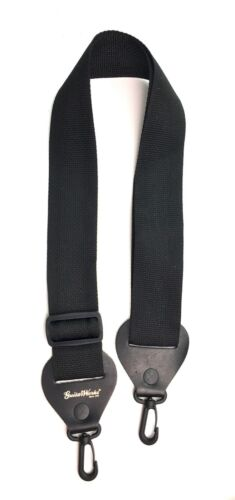 Banjo Strap BLACK NYLON Leather Ends Adjustable Length Clip-On Ends Made In USA
