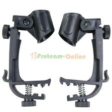 2X Adjustable Clip On Drum Rim Shock Mount Microphone Mic Clamp Holder (2-Pack)