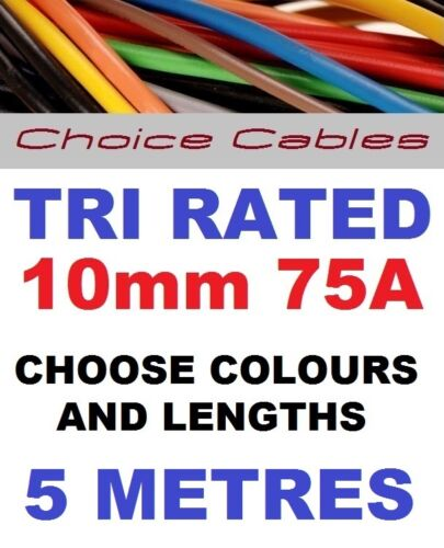 TRI RATED CABLE 10mm 75 AMP 5 METRES CAR BOAT LOOM WIRE BS6231 PANEL WIRE 5m