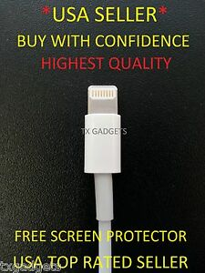 iPhone-5-Charging-Sync-Cable-Lightning-8-Pin-USB-Data-FREE-SCREEN-PROTECTOR