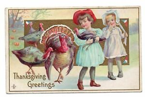 1911-LSC-Embossed-Postcard-Thanksgiving-Greetings-Children-with-Turkeys