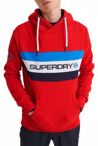 Superdry Trophy Band Logo Overhead Hoodie Sweatshirt Hooded Sweat Top Rouge Red