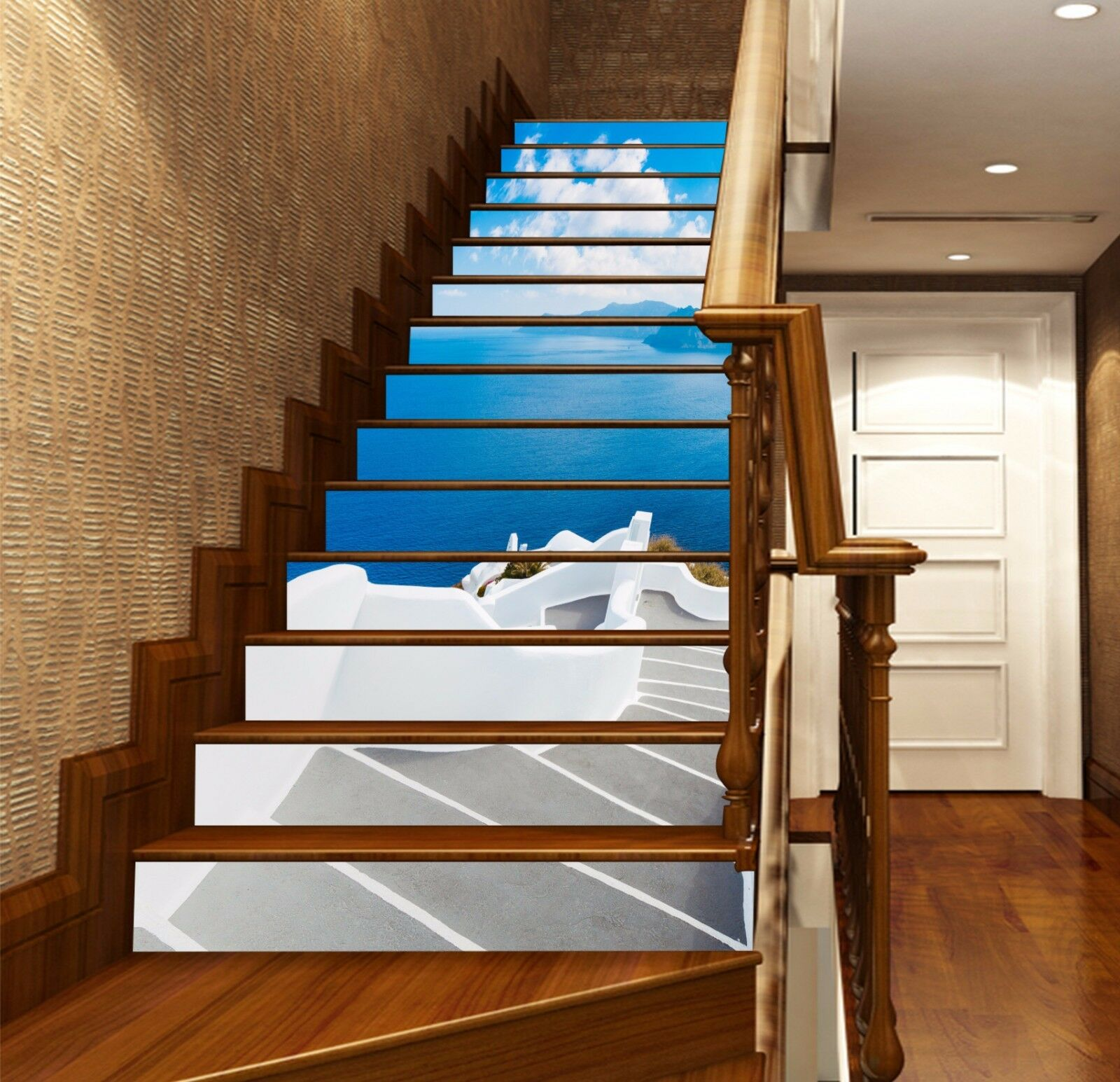 3D Seaside Stairs 8 Stair Risers Decoration Photo Mural Vinyl Decal Wallpaper AU
