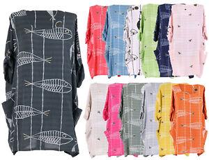 New-Ladies-Italian-Fish-Print-Tunic-Top-Womens-Lagenlook-Stylish-Dress-Top