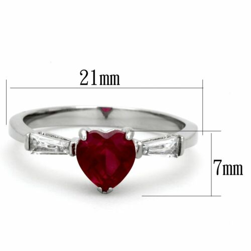 6x6mm Heart Cut Ruby CZ Center Womens Stainless Steel Promise Ring