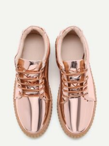 e3ec8421b6 ndw womens rose gold patent leather rubber sole sneakers SheIn size ...