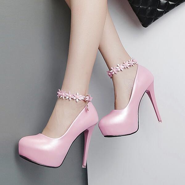 Pumps 12 stilett 12 Pumps cm elegant elegant cm rosa puder plateau gurt simil ... 2800d9