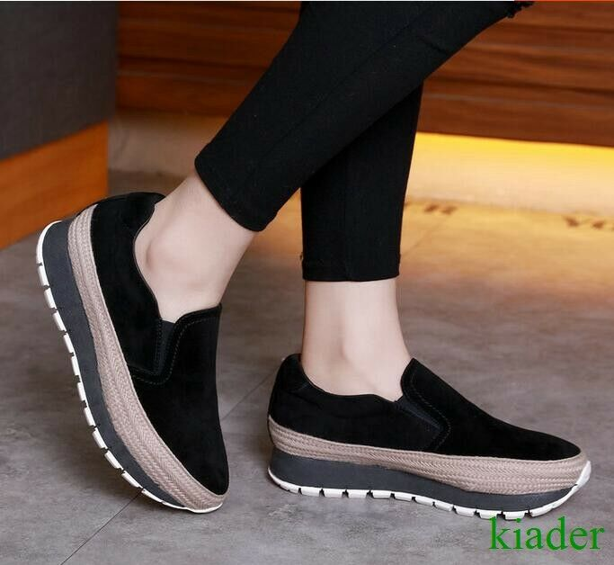 Womens Leisure Med Heels Platform Suede Platform Creeper Slip On Round Toe shoes