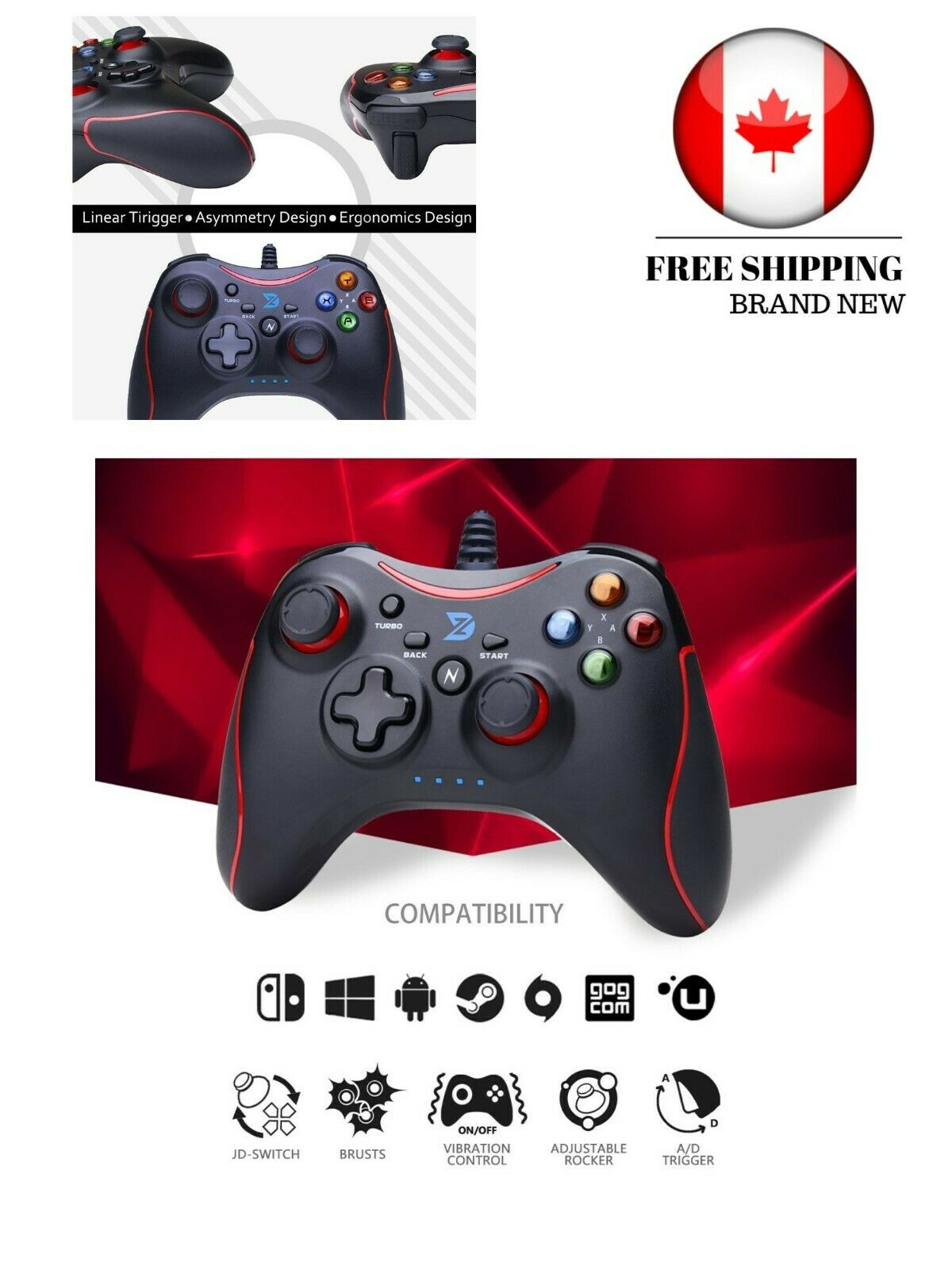 ZD-N【pro】[Red] Wired Gaming Controller Gamepad