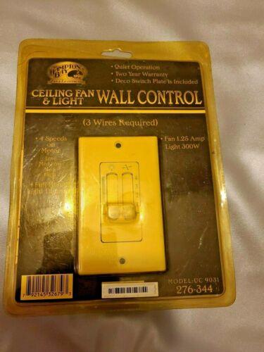 Hampton Bay 3 Wire Ceiling Fan /& Light Wall Control 4 speeds 9031 276-344