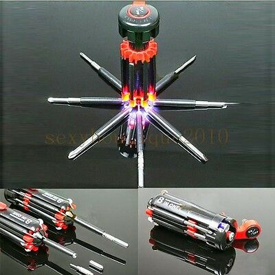 8 in 1 Multi Portable Screwdriver DIY Hand Tools Set 6 LED Flashlight Torch New