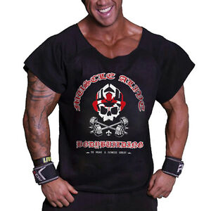 Men s Bodybuilding Rag Top Workout Terry Cotton Gym Fitness Shirts ... 34fc826e4f54