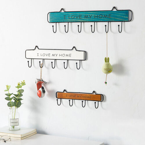 Wall Mounted Clothes Hanger 4 Hooks Hat Key Holder Laundry Coat Rack Shelffa
